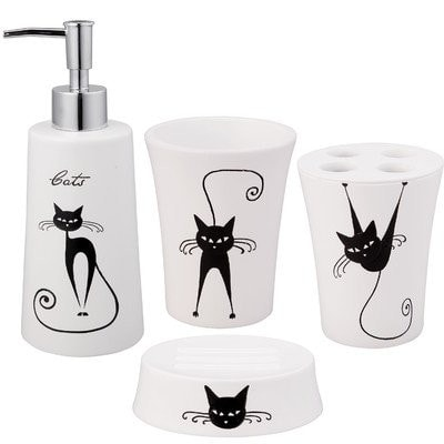 Black and white cat accessories to brighten up your for Black and white bath accessories